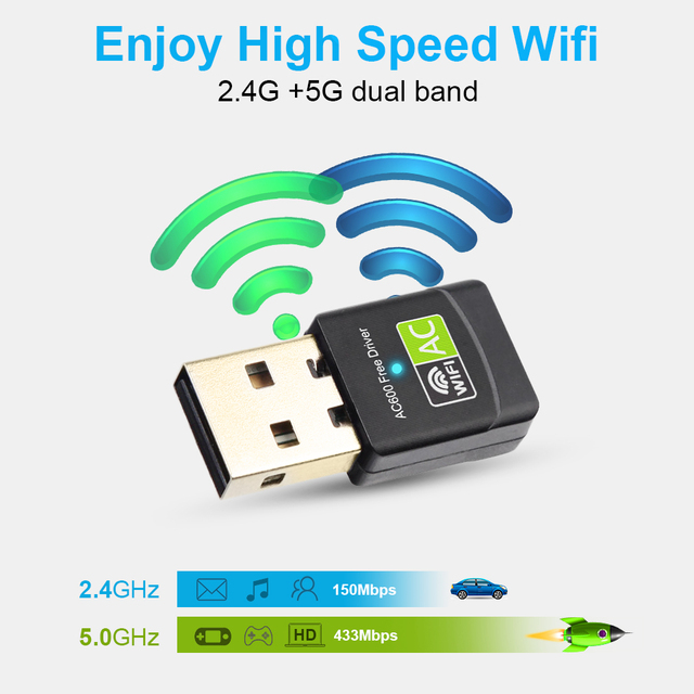 Free Driver USB Wifi Adapter 600Mbps Wi fi Adapter 5 ghz Antenna USB Ethernet PC Wi-Fi Adapter Lan Wifi Dongle AC Wifi Receiver 3