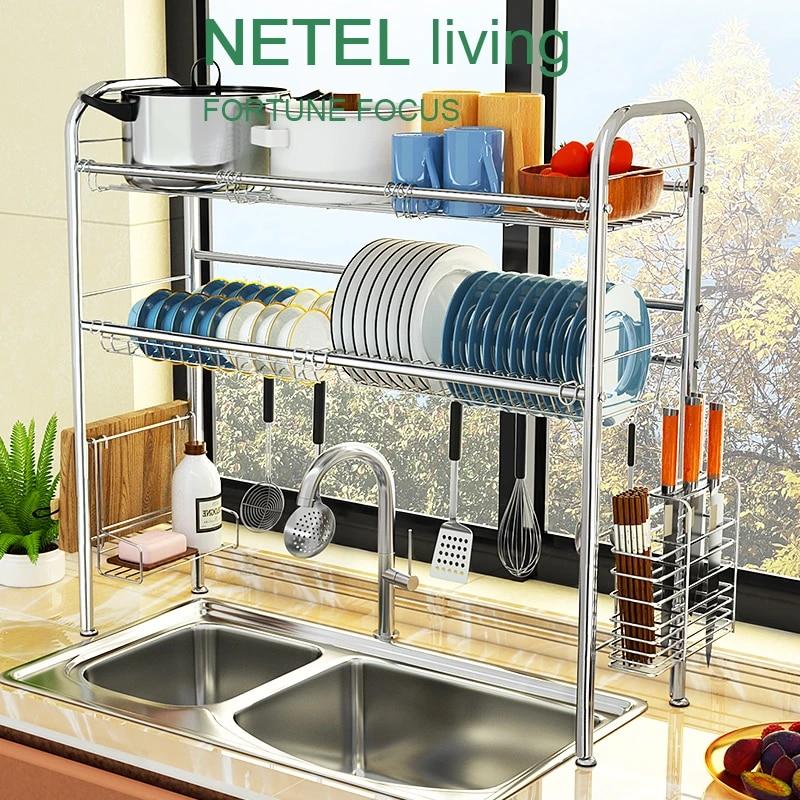 kitchen organizazer over sink dish drainer stainless steel drying rack bowl dish draining shelf dryer tray holder