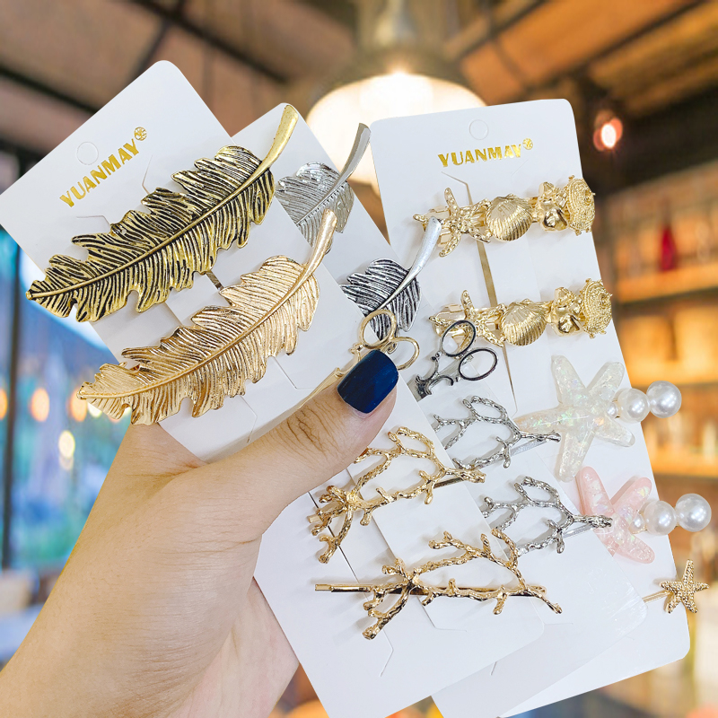 1Set Retro Hair Clips For Women Moon/Starfish/Stars Crystal Hairpins  Geometric High Quality Metal Barrettes Hair Accessoires