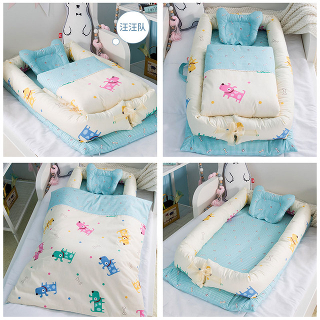 Washable Baby Babynest Cotton Baby Nest Bedding Set Portable Sleeping Bed Newborn Crib Foldable Nursery Bassinet Travel Crib