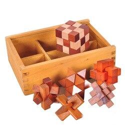 6 Stks/set Nieuwe Ontwerp Brain Teaser Kong Ming Lock 3D Houten Grijpende Burr Puzzels Game Speelgoed Leren Onderwijs Puzzel Speelgoed
