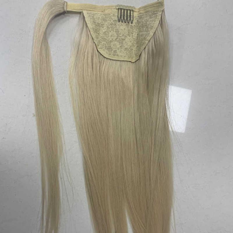 Kordelzug Pferdeschwanz Mit Clip In Menschliche Natürliche Haar Verlängerung Haarteil Frauen Gerade Wrap Um Tai Brasilianische Remy Frisur
