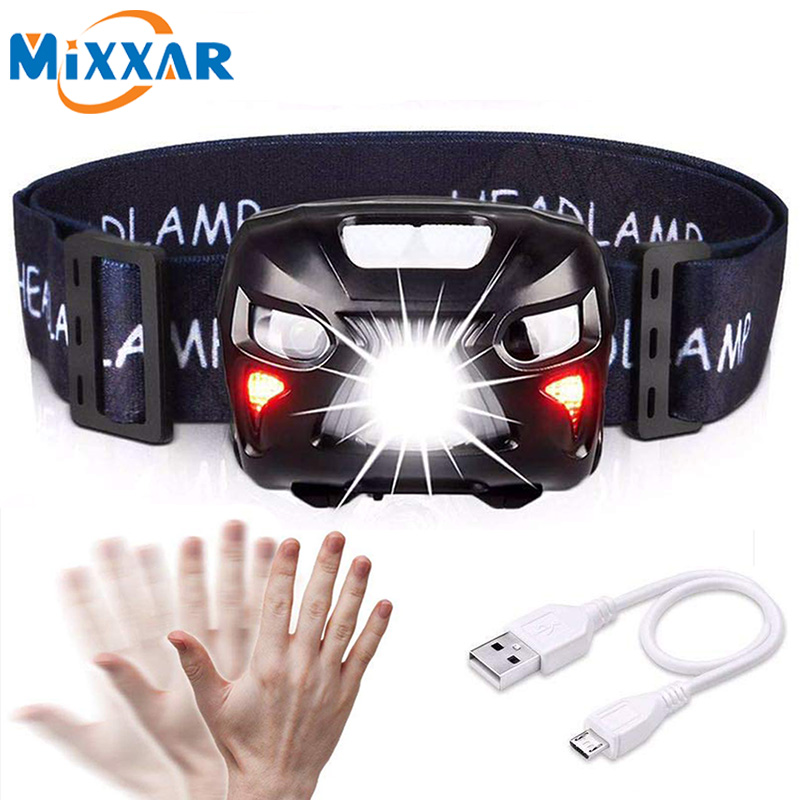 ZK10 Dropshipping  Mini LED Headlight Motion Sensor Headlamp Rechargeable Head Torch Lamp RED Fishing Hiking Light