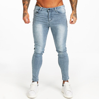 Gingtto Ripped Jeans For Men Skinny Slim Fit Ankle Tight Light Weight Super Stretch Cotton Spandex Big Size Print Jeans zm117