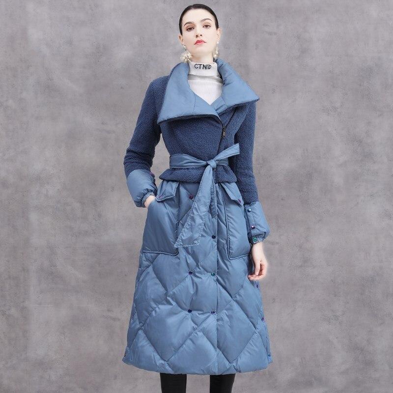 Invierno Eva freedom moda abrigo de plumón de gran tamaño cálido femenino sobre la rodilla pasarela más larga de piel de oveja costura pato abajo chaqueta F354