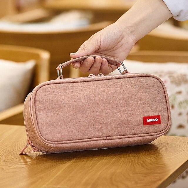 ANGOO ins estuche de lápices Kawaii de lona de doble capa de gran capacidad, bolsa de lápices, bolso de lápices para niños, papelería escolar