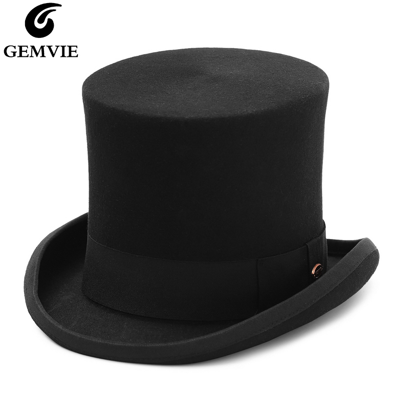 GEMVIE 17cm 100% Wool Felt Top Hat For Men Women Cylinder High Hat Topper Mad Hatter Party Costume Fedora Magician Theater Hat