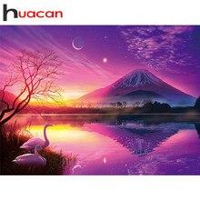 Huacan – Kit de peinture diamant coucher de soleil 5D, bricolage, broderie, point de croix, cygne, images en strass, décor pour la maison
