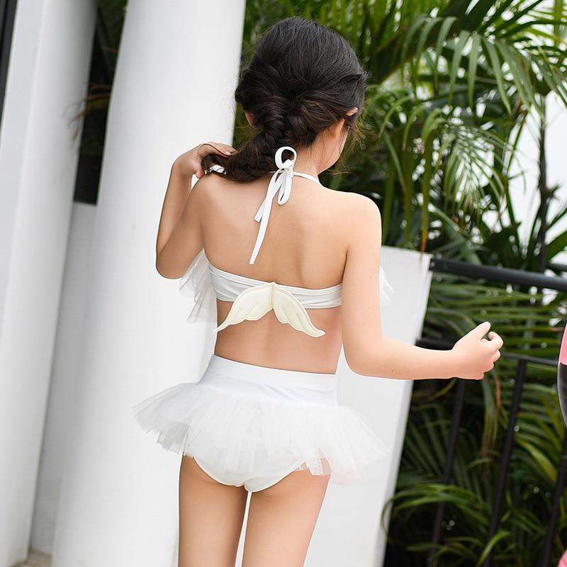 Little Angel Fairy Children Two-piece Swimsuits White Skirt Bikini Girls Little Swan Performance Wear Swimwear Catwalks