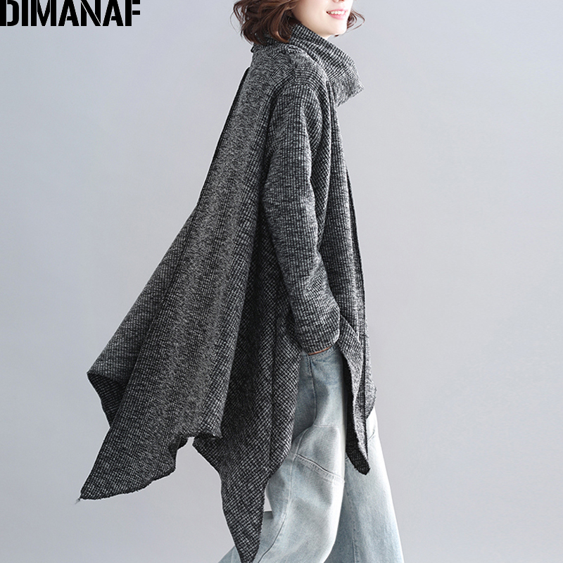 プラスサイズ女性プルオーバーシャツファッションタートルネック秋冬厚手ニットゆるいオーバーサイズのトップスにスプライシング服グレー 最終割引 DIMANAF