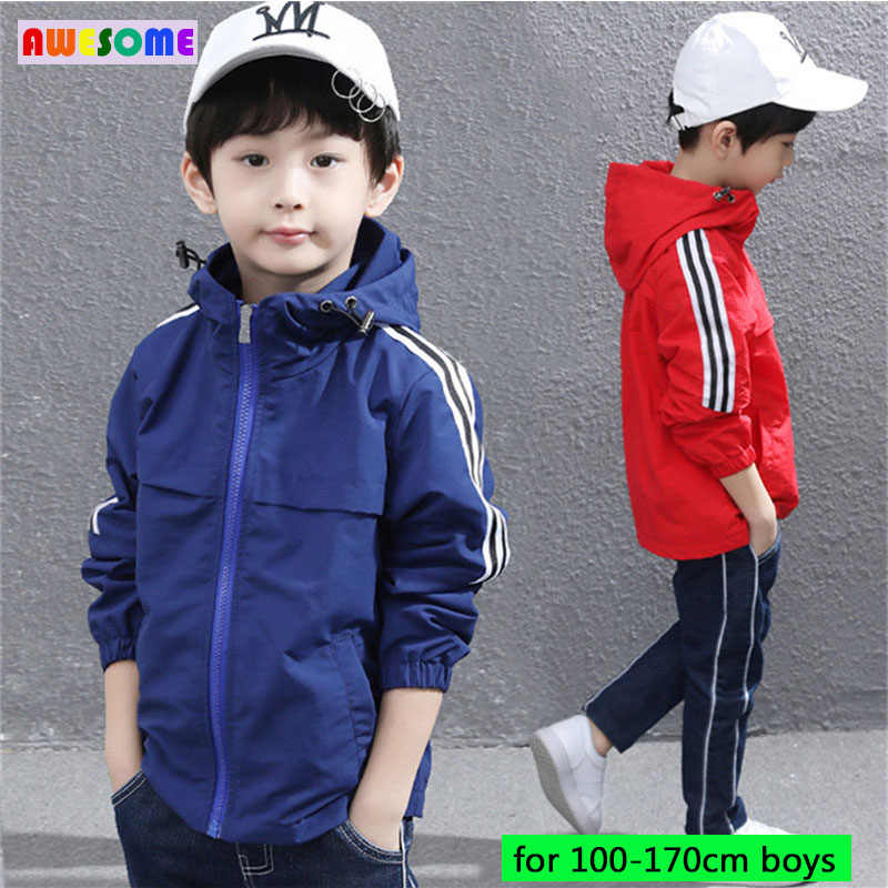 Spring Kids Boys Casual Hooded Jackets Slim Fit Boy Striped Jackets for Teens Active Windbreaker Tracksuit Sport 3-15 Year Black