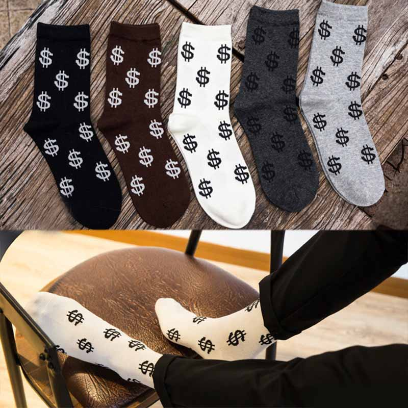 Fashion Spring Autumn Men Socks Dollar Symbol Printed Comfortable Breathable Absorb Sweat Anti-slip Men Middle Long Sock TC21