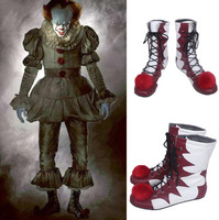Custom Made Halloween Stephen King It Costume Pennywise Shoes Scary Clown Boots Cosplay Shoes Men Halloween Christmas Costumes