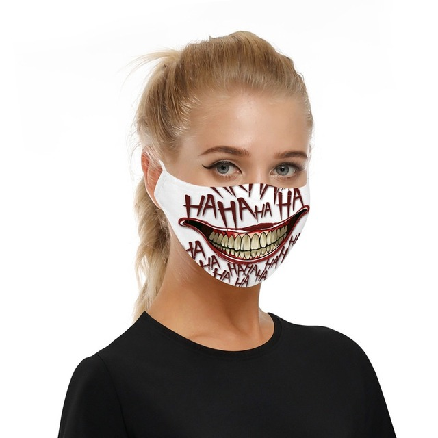 Fashion Hot Sale Adult Children Cartoon Printing Skeleton Joker Protective Mask Filter Chip Dustproof PM2.5 Smog Face Mask Gift 2