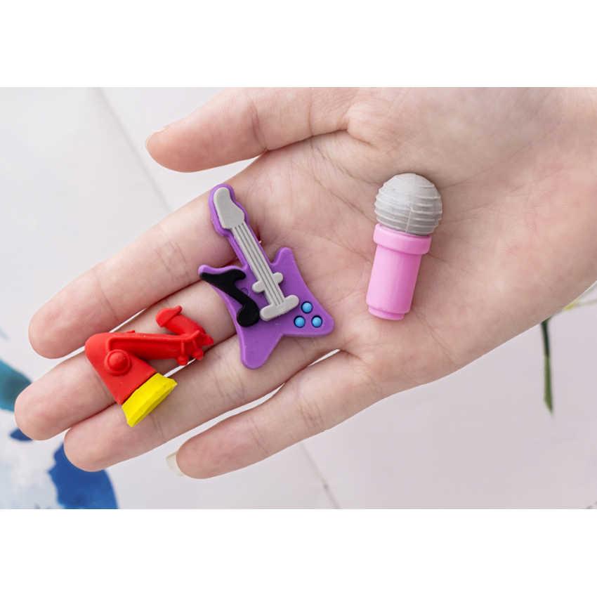 5 pçs/lote nova festa música instrumentos série borracha conjunto lápis borracha novidade crianças estudante aprendizagem escritório artigos de papelaria