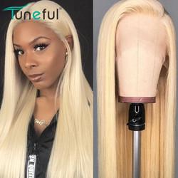 613 Blonde Lace Front Human Hair Wigs 13x4 150% HD Transparent Lace Frontal Wigs Tuneful Brazilian Straight Remy Human Hair Wigs