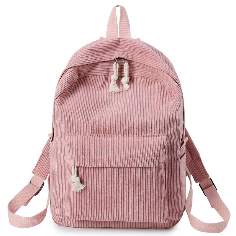 Preppy Style Soft Fabric Backpack Female Corduroy Design School Backpack For Teenage Girls Striped Backpack Women