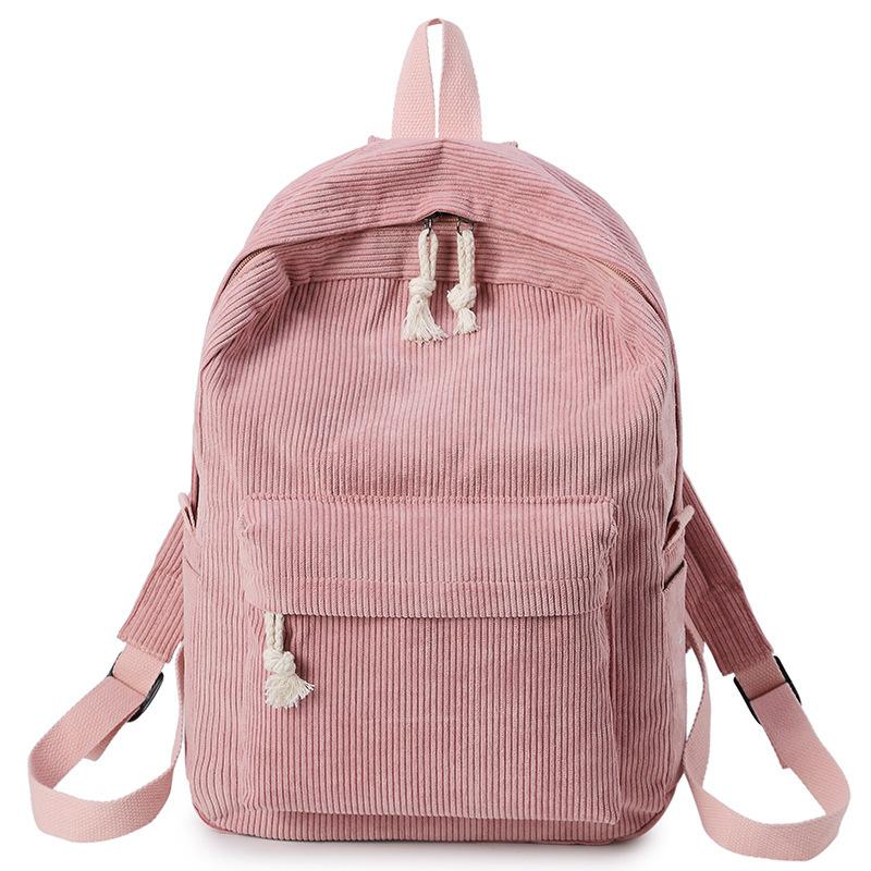 Preppy Style Soft Fabric Backpack Female Corduroy Design School Backpack For Teenage Girls Striped Backpack Women
