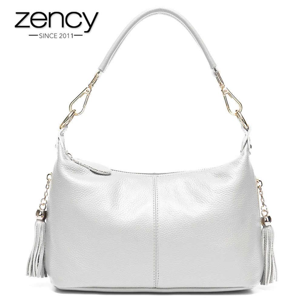 Zency Fashion Wanita Tas Bahu 100% Kulit Alami Wanita Tas dengan Rumbai Messenger Crossbody Dompet Kecil Tas Tote