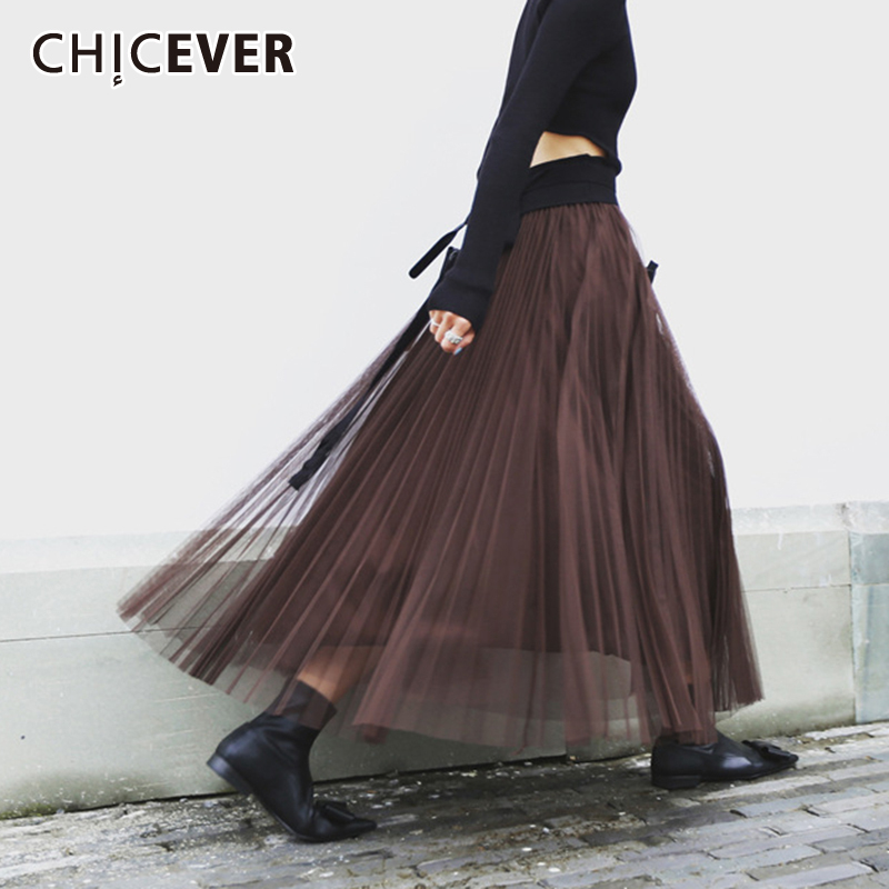 CHICEVER Korean Patchwork Mesh Skirt Female Elastic High Waist Loose Oversized Casual Women's Skirts 2020 Fashion New Clothes