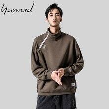 Yasword 2019 Turtleneck Zipper Sweatshirt For Men High Neck Hoodie Loose Tracksuit Pullover Male Tops Outwear Sportswear
