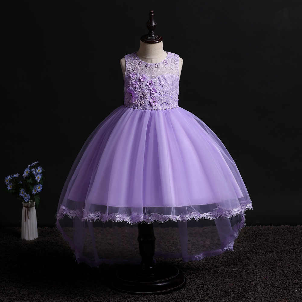 Fashion Yellow White Lavender Pink Sky Blue Children High Low Dress  Sleeveless Kids Party Dresses for Girls for Wedding