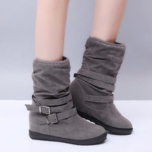 Spring Spring Boots Women Female Round Toe Mid-calf Sweet Princess Classic Boot Stylish Flat Flock Shoes Snow Boots(China)