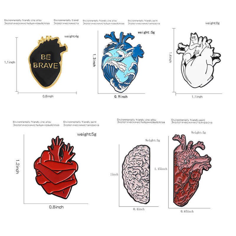 Anatomi Jantung Bros dan Enamel Pin Anatomi Medis Jantung Neurologi Kerah Pin Lencana