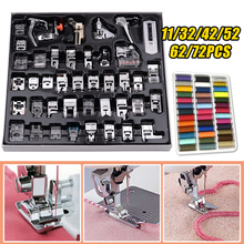 4-72PCS Domestic Sewing Machine Presser Foot Kit Press Feet for Brother Singer Braiding Blind Stitch Over Lock Zipper Ruler Part