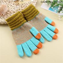 5 par paczka Outdoor rękawiczki do jazdy dla kobiet mężczyzn rękawiczki zimowe do ekranów dotykowych Unisex Fashion Warm Stretch Knit Mittens tanie tanio DANCING WINGS COTTON spandex Dla dorosłych Geometryczne Nadgarstek Moda ADC-152