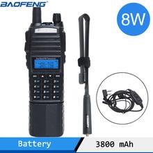 Baofeng UV 82 artı 8W yüksek güç 3800mAh pil ile DC konektörü walkie talkie uzun menzilli radyo Ham taşınabilir CB radyo
