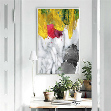 Modern Yellow Abstract Watercolorful Wall Painting Printed Canvas Oil Painting Home Decor Custom Photo Printing Canvas Prints недорого