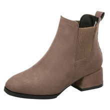 Women Autumn Winter Flock Ankle Boots Slip-on Round Toe 3.5cm Square Heel Solid Casual Black/camel Booties ##6(China)