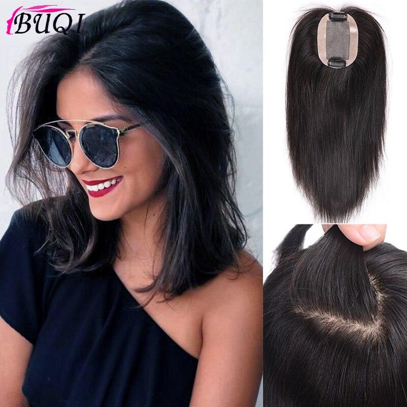 BUQI Women's Black Long Clip Closure Hair Extension Natural Straight Human Hair Clip Hair Accessories