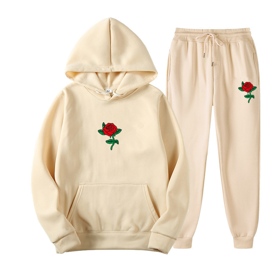 Suits Tracksuits Men Harajuku Rose Flower Print  Hoodies Winter Sweatshirt Casual 2-piece Set Jogger Pants+Pullovers Streetwear (19)