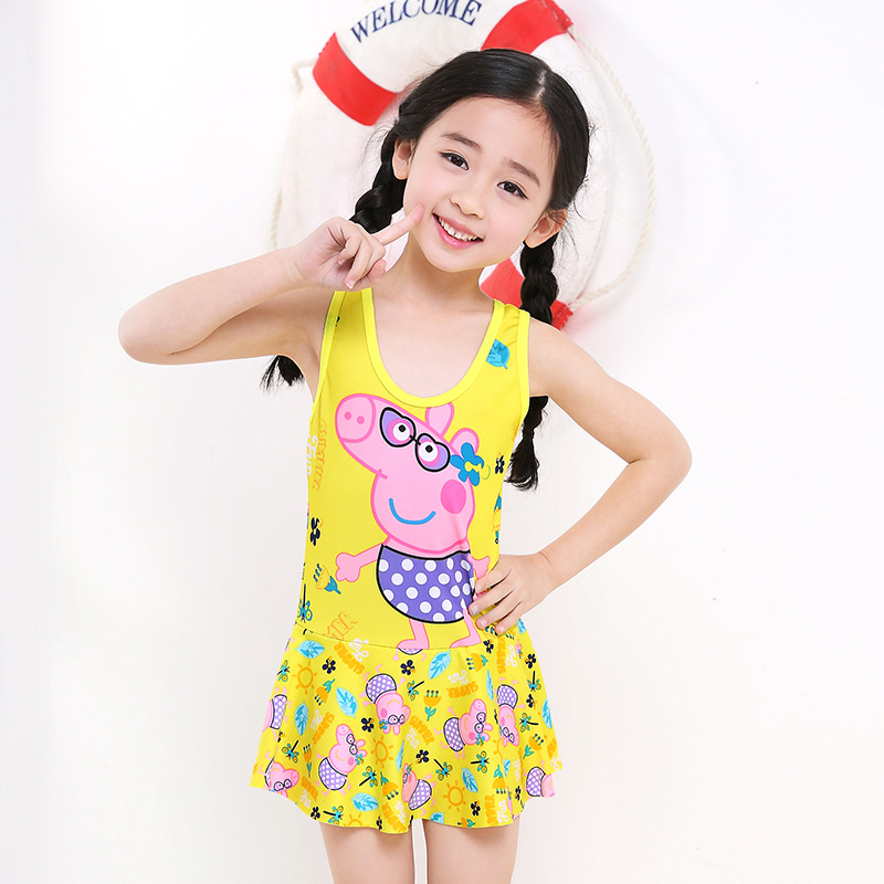 Drop Love For Water Girls Siamese Swimsuit Cute Children Cartoon Printed KID'S Swimwear