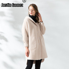 New Arrival Single-breasted Long Faux Mink Velvet Woolen Coat Thicken Warm Hood Winter Woman Popular Temperament