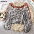 Blusen Frauen Retro Temperament Französisch Slash Neck Floral Plissee Design Frau Crop Top Vintage Stretch Chiffon Femme Blusas Tops