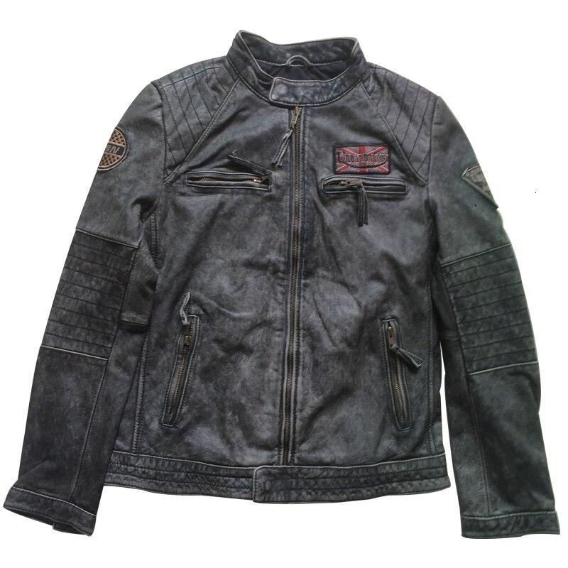 2020 New Vintage Men's Genuine Motorcycle Leather Jacket Punk Fashion Cowhide Bomber Biker Men Winter Coats M-XXXXL