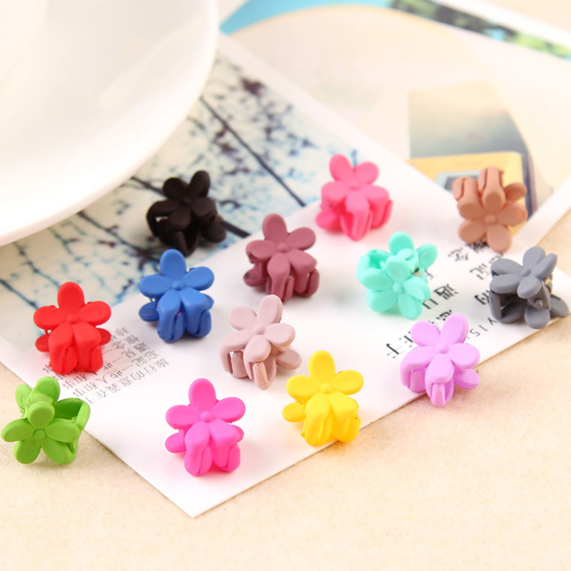 Korean Fashion Girls Flower Flower Mini Bangs Clip Grip Rainbow Colorful Plastic Sweet Flower Shaped Mini Side Bangs Hair