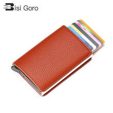BISI GORO RFID Pop-Up Card Holder Aluminum Box Litchi Soft Leather Case Information Protector Security Slim ID