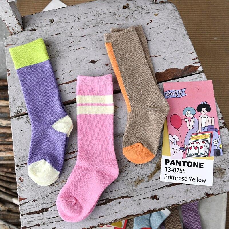 EnkeliBB Fashion Brand European American Style Kids Girls Cotton Socks Stylish Baby Toddler Tube Socks High Quality Child Tubes