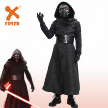 Xcoser Promotion Kylo Ren Costume Star Wars VII The Force Awakens Cosplay Villain Deluxe Adult Halloween Costume and Mask Black(China)
