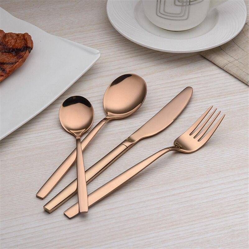 16 Pcs/Lot couteau et fourchette or vaisselle ensemble Top qualité en acier inoxydable dîner couteau fourchette cuillère café cuillère ensemble de couverts
