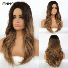 Emmor длинные парики из натуральных волнистых волос коричневого