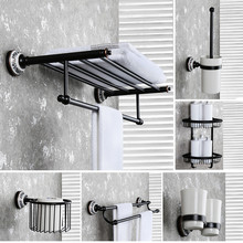 Solid Brass Bathroom Accessories Blue White Towel Rack Shelf Black Toilet Brush Holder Wall Toilet Roll Paper Holder Soap Dish стоимость