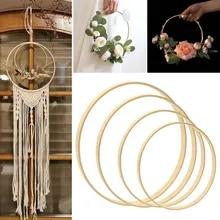 1Pcs DIY Bamboo Circle Hoop Floral Wreath Macrame Rings  Dream Catcher Crafts