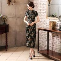 Chinese traditional dress cheongsam female catwalk long cheongsam plus size middle aged and elderly slim fashion cheongsam skirt