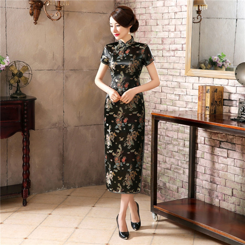 Chinese Traditional Dress Cheongsam Female Catwalk Long Cheongsam Plus Size Middle-aged And Elderly Slim Fashion Cheongsam Skirt