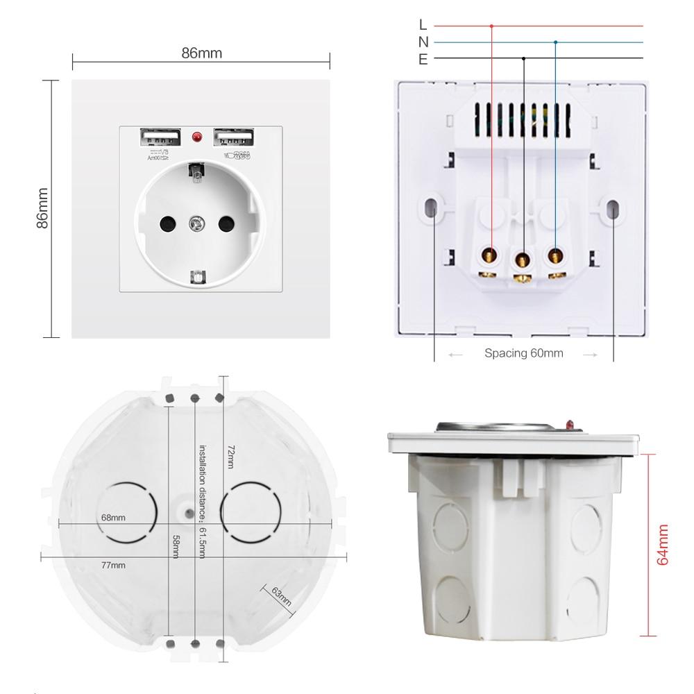 SRAN EU power socket,socket with USB ,16A 250V dual usb 5V 2A White/Black PC Panel 86mm*86mm wall usb socket smart LED on/off 6